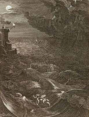 Leander Drawing - Leander Swims Over The Hellespont by Bernard Picart