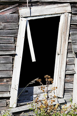 Photograph - Leaning Barn Window by Alan L Graham