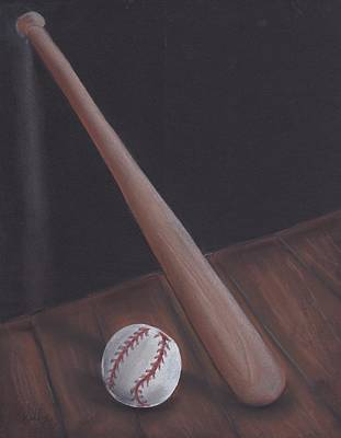 Leaning Baseball Bat Art Print by Kelly Mills