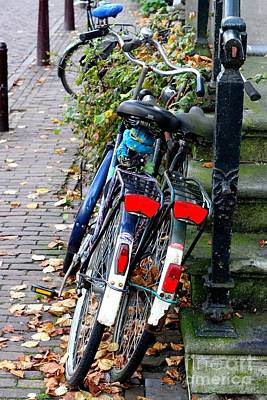 Leaning Bicycles Art Print