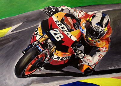 Motogp Painting - Leaning Into The Turn by Budhi Blair