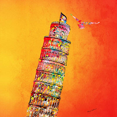 Signed Digital Art - Leaning Tower by Mark Ashkenazi