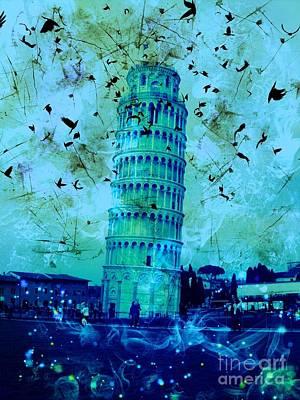 Epic Digital Art - Leaning Tower Of Pisa 3 Blue by Marina McLain