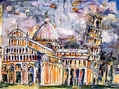 Leaning Tower Of Pisa Italy  Art Print by Ginette Callaway