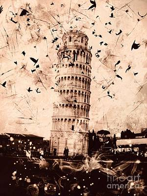 Digital Art - Leaning Tower Of Pisa Sepia by Marina McLain