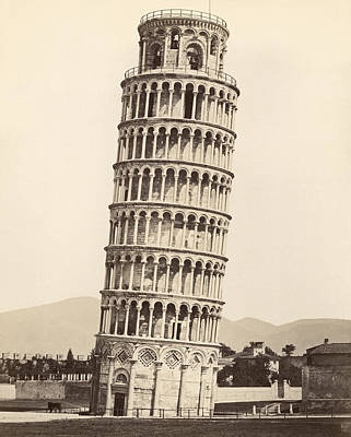 Leaning Building Photograph - Leaning Tower Of Pisa by Underwood Archives