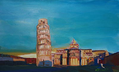 Leaning Tower Of Pisa With Cathedral Square Italy Art Print