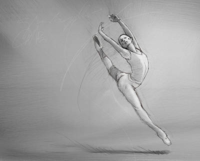 Ballet Drawing - Leap by H James Hoff