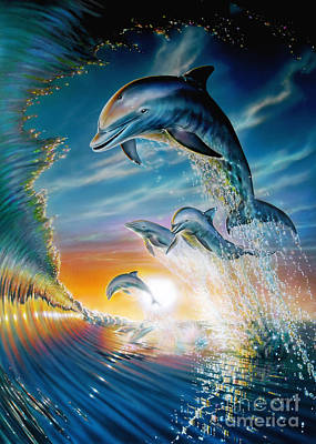 Vitality Digital Art - Leaping Dolphins by Adrian Chesterman