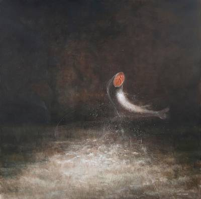 Salmon Photograph - Leaping Fish, 2012 Acrylic On Canvas by Lincoln Seligman