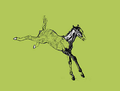 Modern Sophistication Line Drawings - Leaping Foal Greens by JAMART Photography