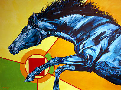 Mustang Painting - Leaping Horse by Derrick Higgins