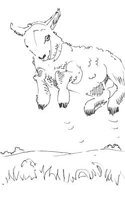 Drawing - Leaping Lamb by Mike Jory