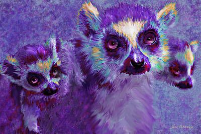 Digital Art - Leaping Lemurs by Jane Schnetlage