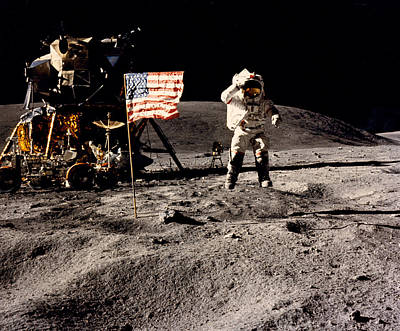 Space Exploration Photograph - Leaping Lunar Flag Salute by Underwood Archives
