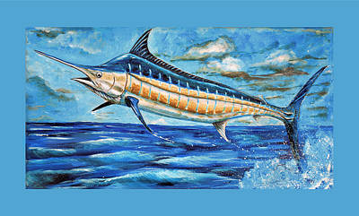 Painting - Leaping Marlin by Steve Ozment
