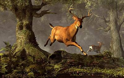 Leaping Stag Art Print by Daniel Eskridge