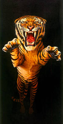 Aggressiveness Photograph - Leaping Tiger by Garry Walton