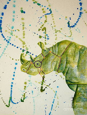 Painting - Learned Rhino by Tamyra Crossley
