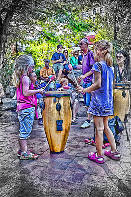 Learning The Drums Young Art Print by John Haldane