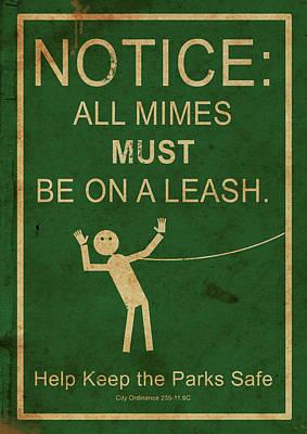 Leash Your Mime Art Print