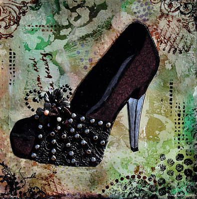 Lace Mixed Media - Leather And Lace Shoes With Abstract Background by Janelle Nichol