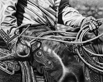 Cowboy Art Drawing - Leather And Loops by Glen Powell