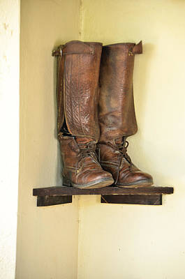 Photograph - Leather Boots On Shelf Jamaica by RobLew Photography