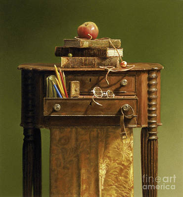 Education Painting - Leather Bound by Barbara Groff