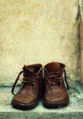 Lost Soles Photograph - Leather Children Boots by Jaroslaw Blaminsky