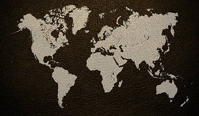 Leather Mixed Media - Leather Texture Map Of The World by Design Turnpike