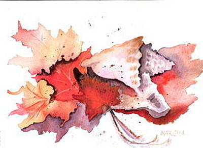 Painting - Leaves And Shells by Marsha Woods
