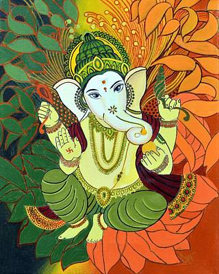 Lotus Leaves Painting - Leaves Ganesha by Rupa Prakash