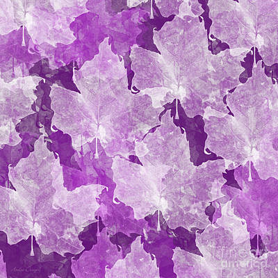 Digital Art - Leaves In Radiant Orchid Square by Andee Design