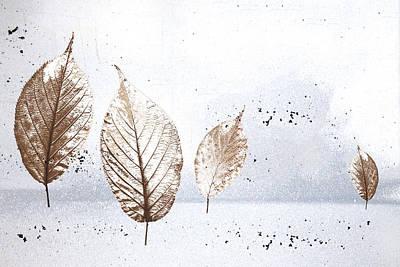 Leaves In Snow Art Print by Carol Leigh