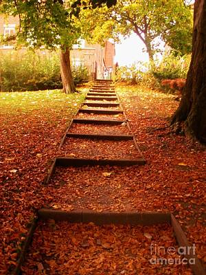 Impressionist Landscapes - Leaves on The Steps at The City Park by Joan-Violet Stretch