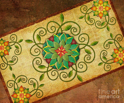 Colored Background Mixed Media - Leaves Rosette 1 by Bedros Awak