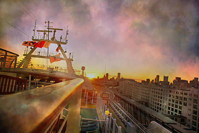 Leaving Boston On The Princess Caribbean Art Print by Betsy Knapp