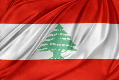Lebanese Flag Art Print by Les Cunliffe