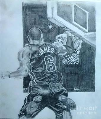 Lebron James Drawing - Lebron by Ezra Strayer