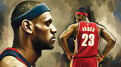 Athletes Painting - Lebron James Artwork 1 by Sheraz A