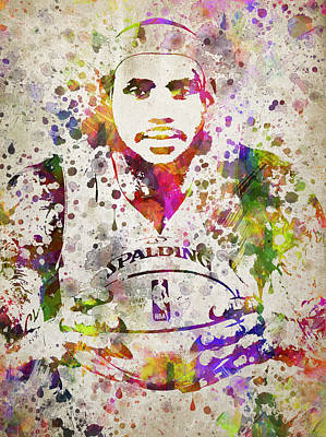Lebron Drawing - Lebron James In Color by Aged Pixel