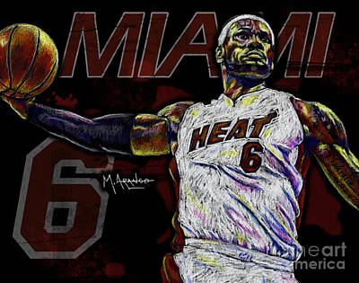 Nba Drawing - Lebron James by Maria Arango