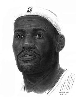 Lebron Drawing - Lebron James by Marvin Lee