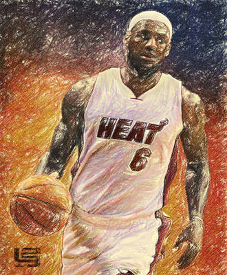 Lebron Drawing - Lebron James by Taylan Apukovska