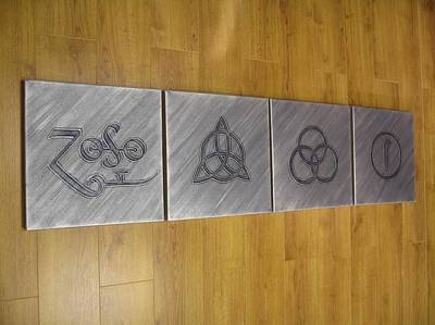 Jimmy Page Artwork Painting - Led Zeppelin 4 Symbols by Gary Burnie