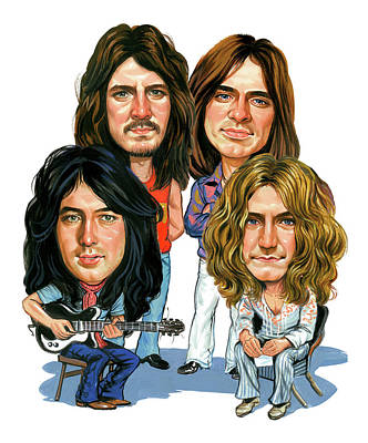 Caricature Painting - Led Zeppelin by Art