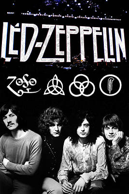 Rock Digital Art - Led Zeppelin by FHT Designs
