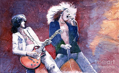 Led Zeppelin Jimmi Page And Robert Plant  Art Print by Yuriy  Shevchuk