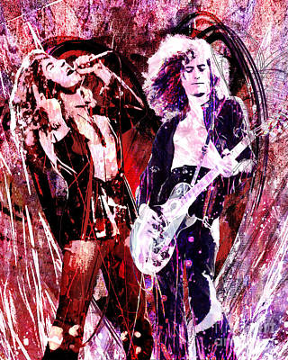 Led Zeppelin - Jimmy Page And Robert Plant Art Print by Ryan Rock Artist